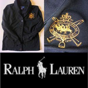 RLC Ralph Lauren Crest Embellished Button Sweater